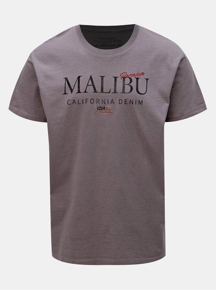 Fialové tričko s potlačou Jack & Jones Luke