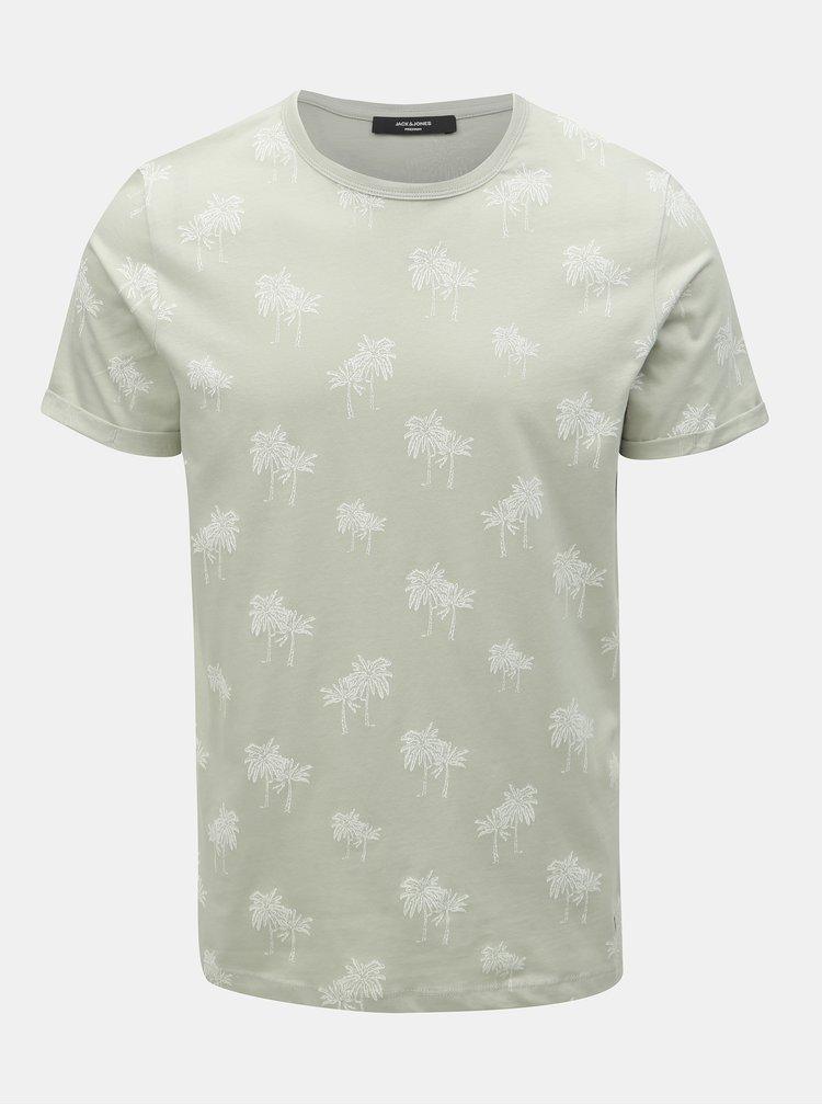 Světle šedé vzorované tričko Jack & Jones Slam