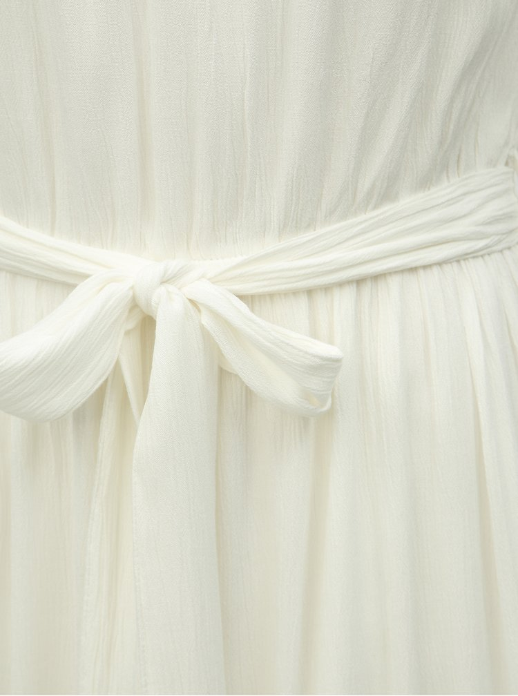 Krémové midišaty s odhalenými rameny Miss Selfridge