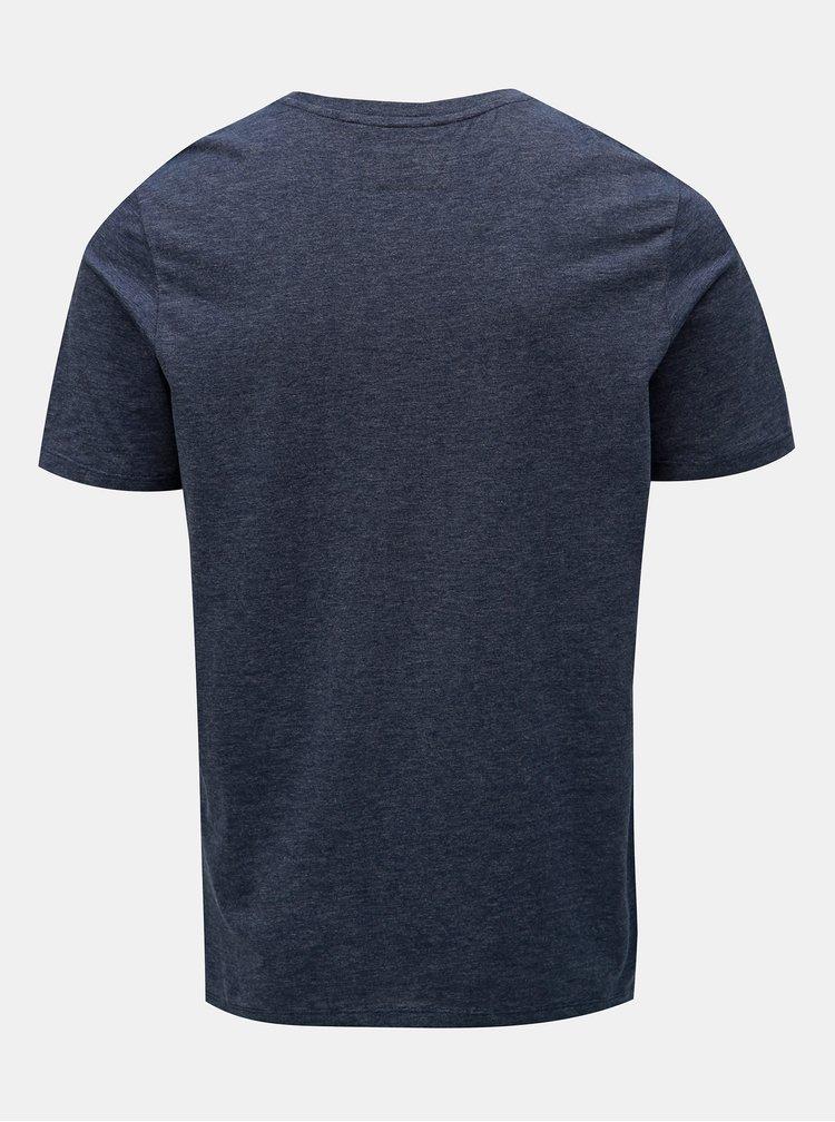 Tmavomodré tričko s potlačou Jack & Jones Nine