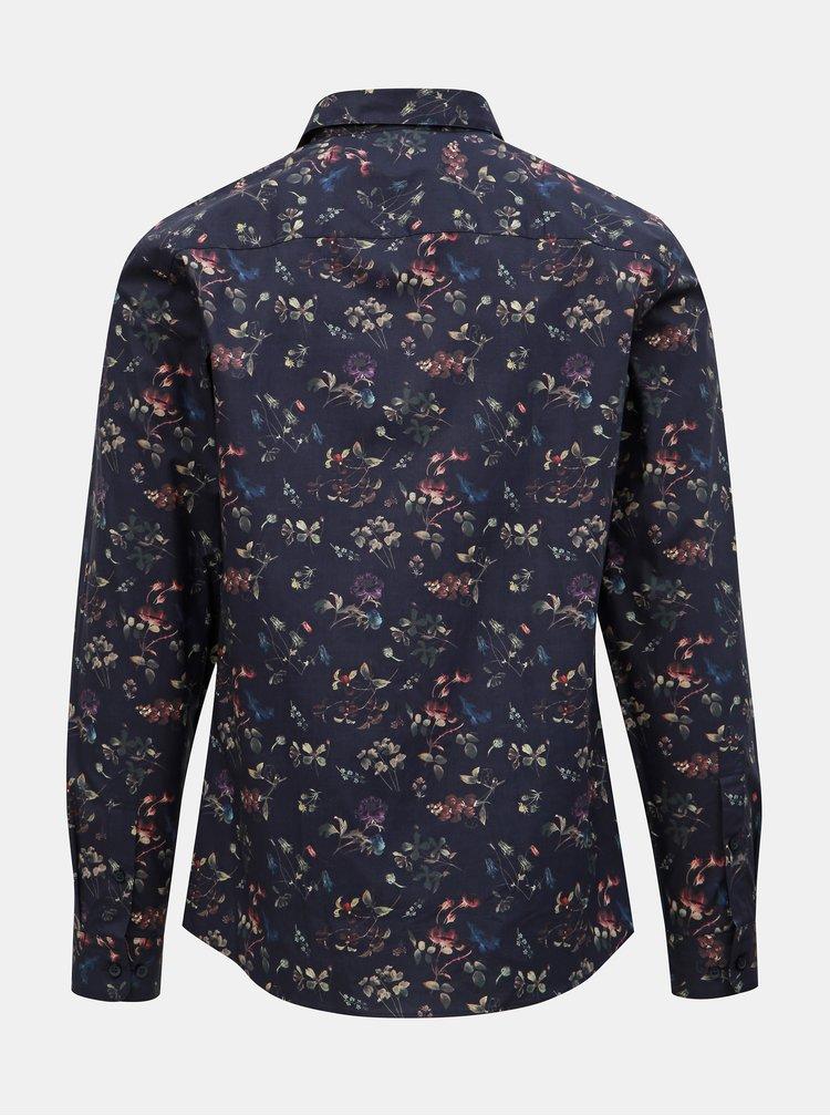 Tmavomodrá kvetovaná slim fit košeľa Selected Homme Primus