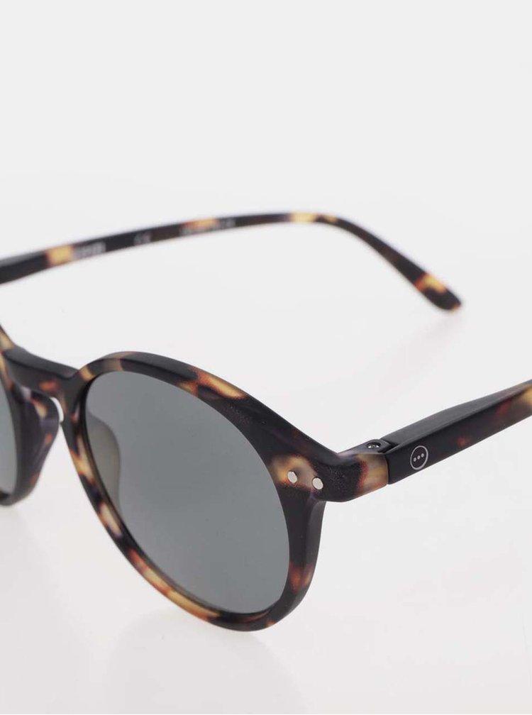 Hnědo-černé vzorované sluneční brýle s černými skly IZIPIZI  #D