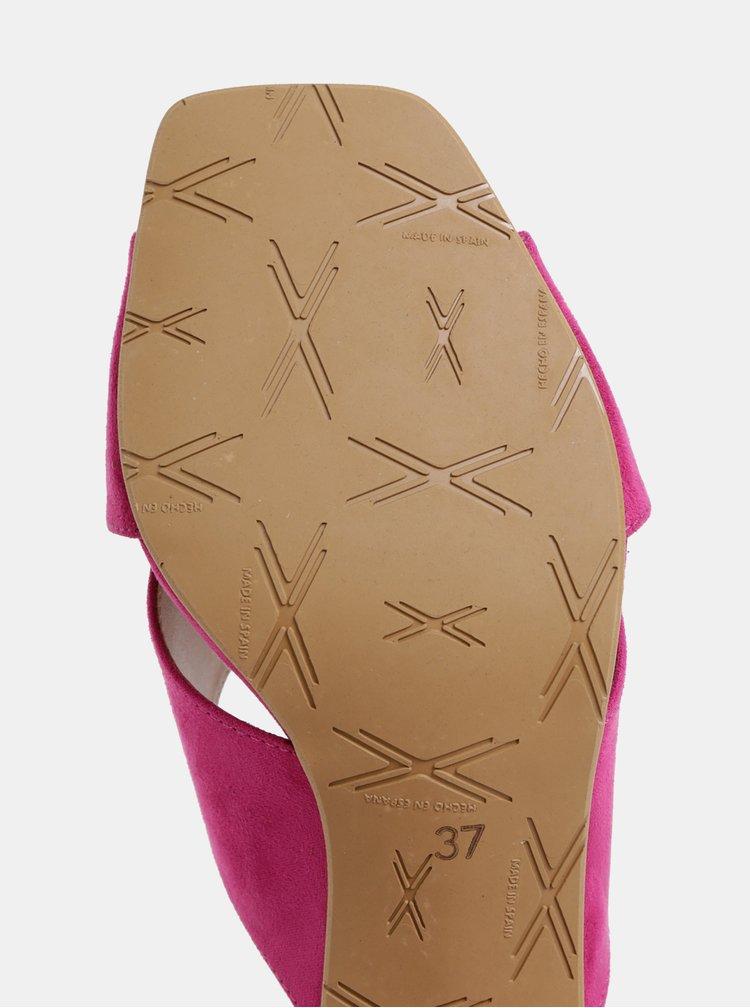 Tmavě růžové pantofle na podpatku v semišové úpravě OJJU Nantes