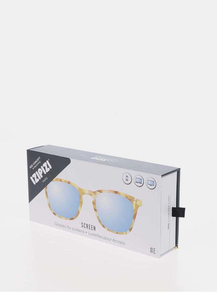 Žluto-hnědé vzorované ochranné brýle k PC  IZIPIZI #E