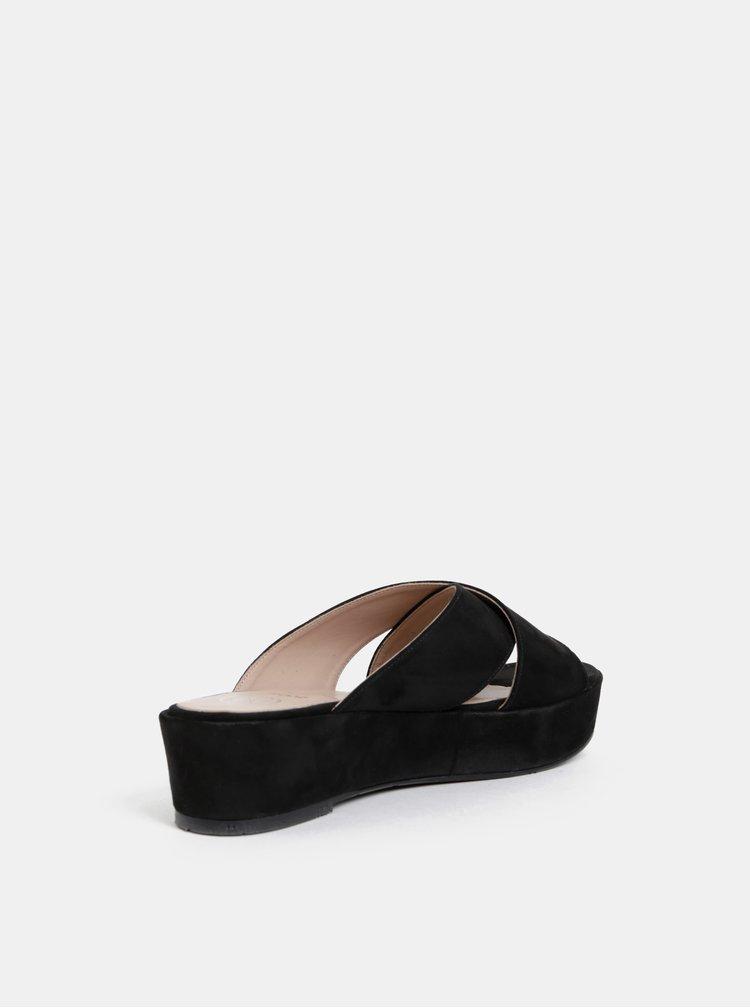 Černé pantofle na platformě v semišové úpravě OJJU Luxury