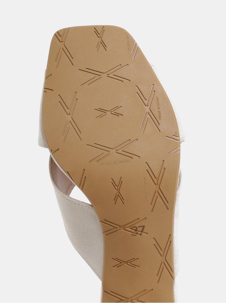 Krémové pantofle na podpatku v semišové úpravě OJJU Nantes