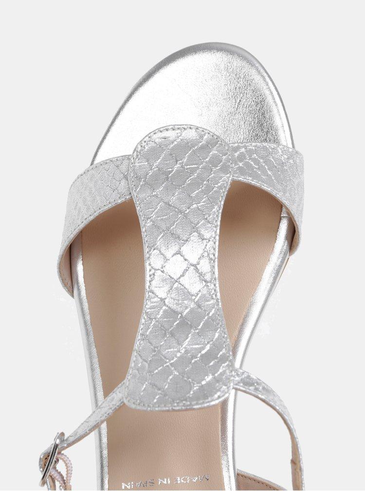 Sandály ve stříbrné barvě s hadím vzorem OJJU Marsella