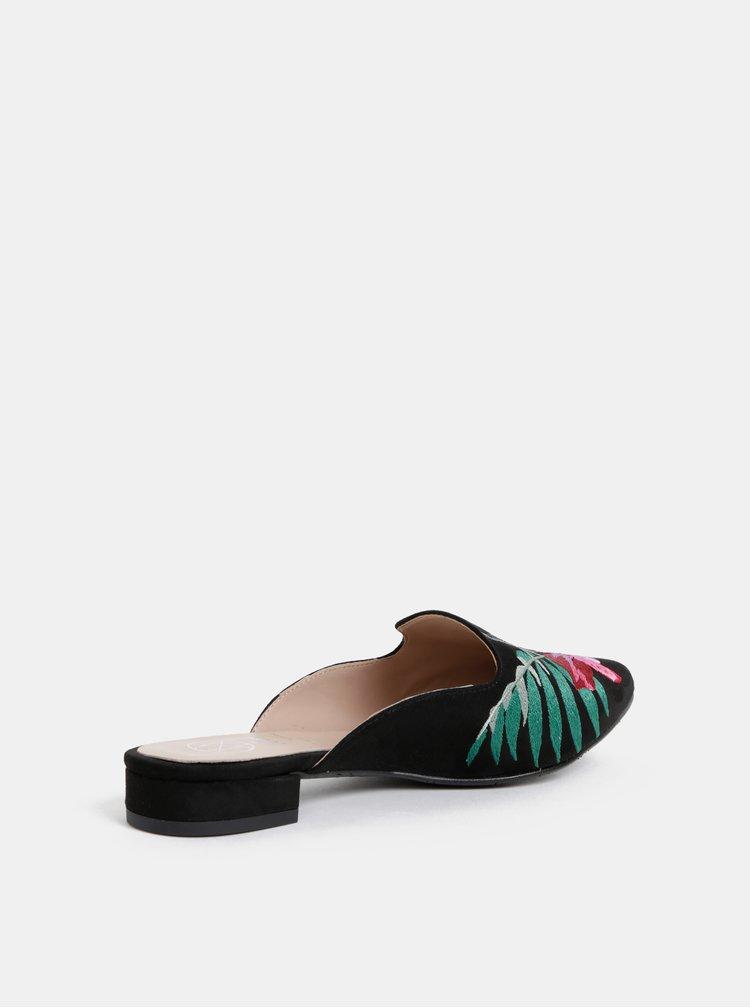 Černé pantofle v semišové úpravě s výšivkou OJJU Lyon