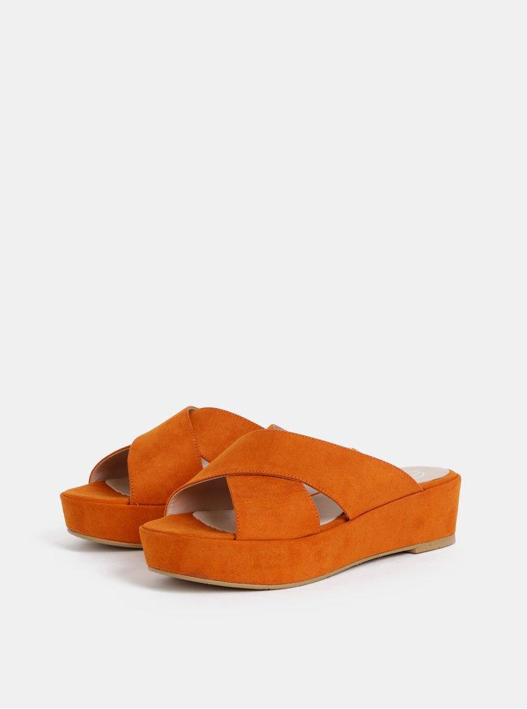 Oranžové šľapky na platforme v semišovej úprave OJJU Luxury