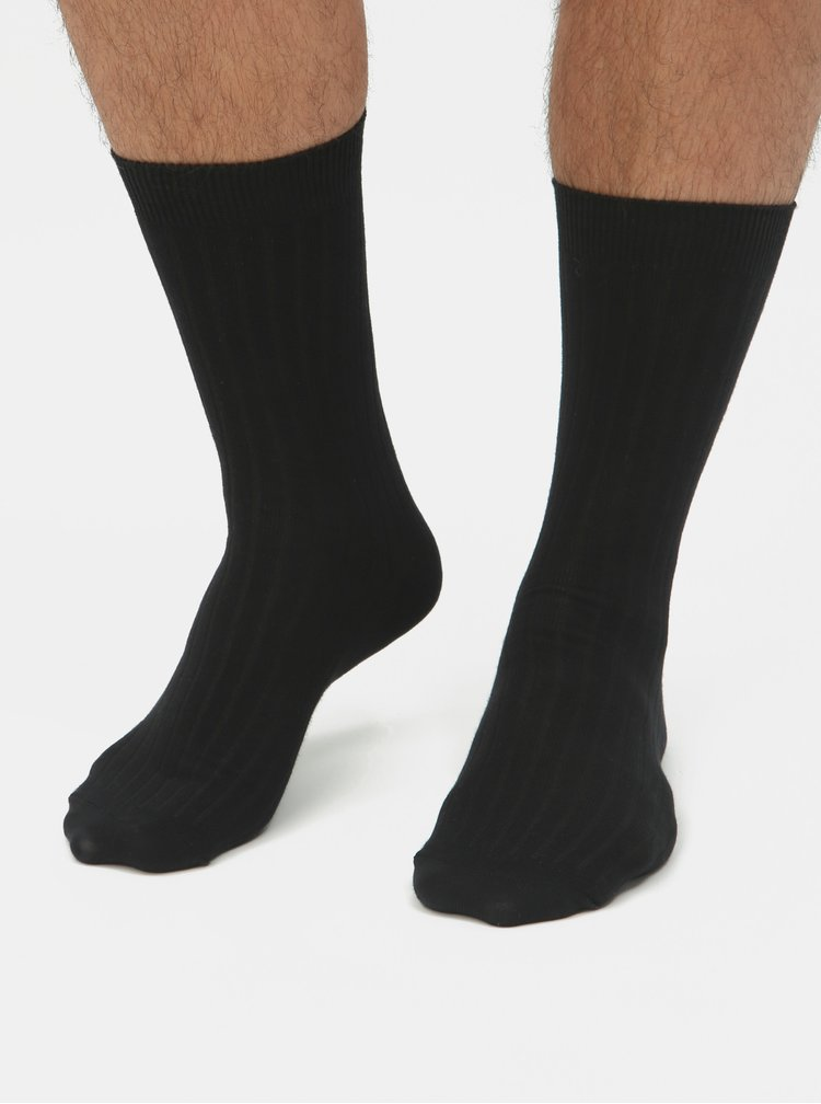Balenie troch párov čiernych ponožiek Selected Homme Pete