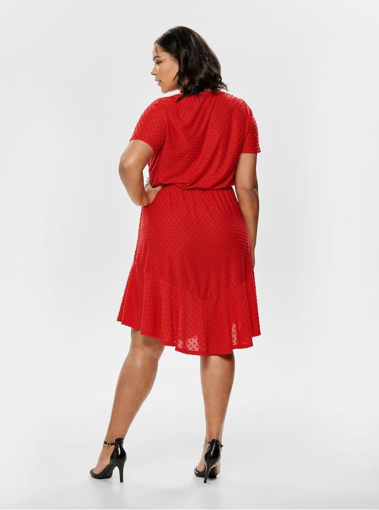 Červené puntíkované šaty ONLY CARMAKOMA Didde