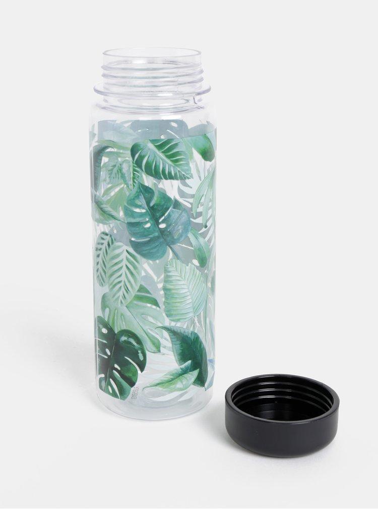 Zelená fľaša na vodu s motívom listov Sass & Belle Botanical Jungle