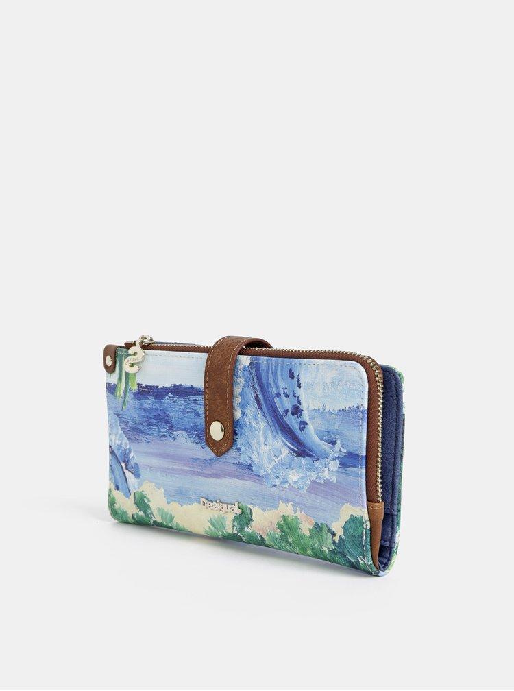 Modrá vzorovaná veľká peňaženka Desigual Landscape Ocean