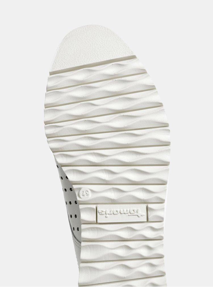 Biele perforované kožené poltopánky Tamaris Greta