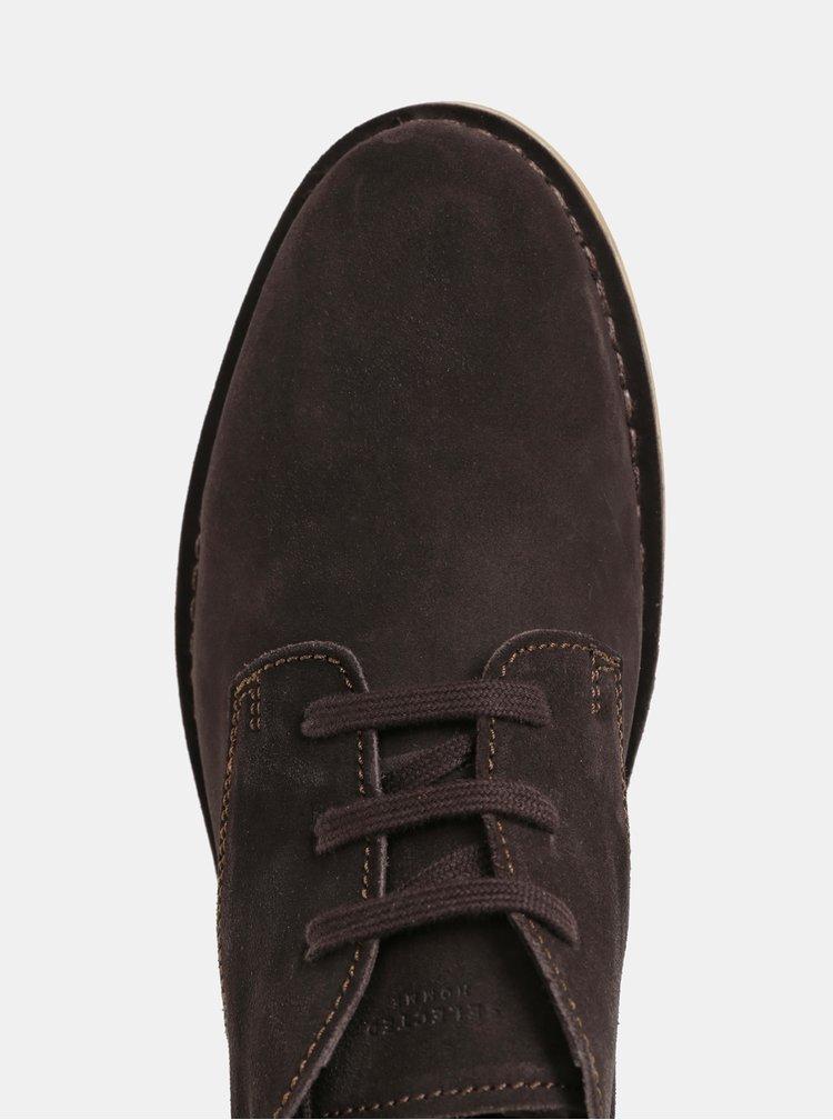Tmavohnedé pánske semišové členkové topánky Selected Homme Royce