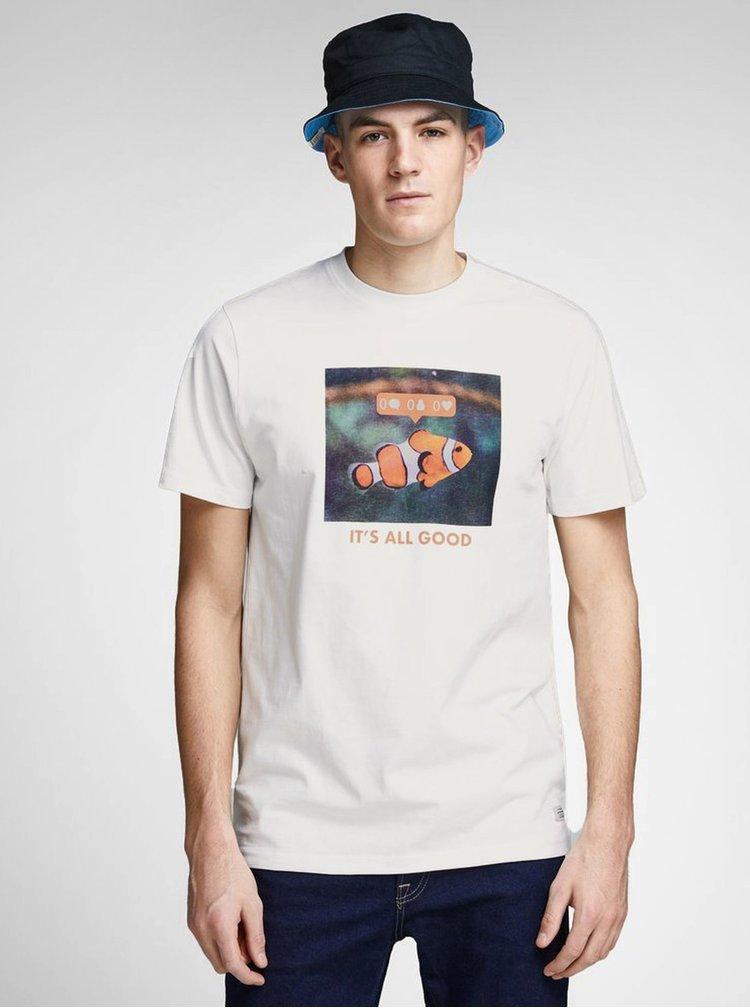 Krémové slim fit tričko s potiskem Jack & Jones Messenger