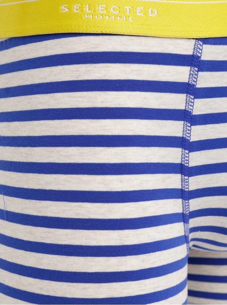 Modro–béžové pruhované boxerky Selected Homme Classic
