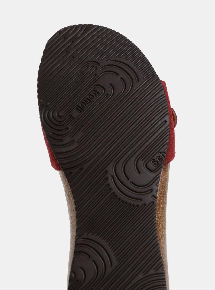Papuci bordo din piele intoarsa de dama Scholl Bahama