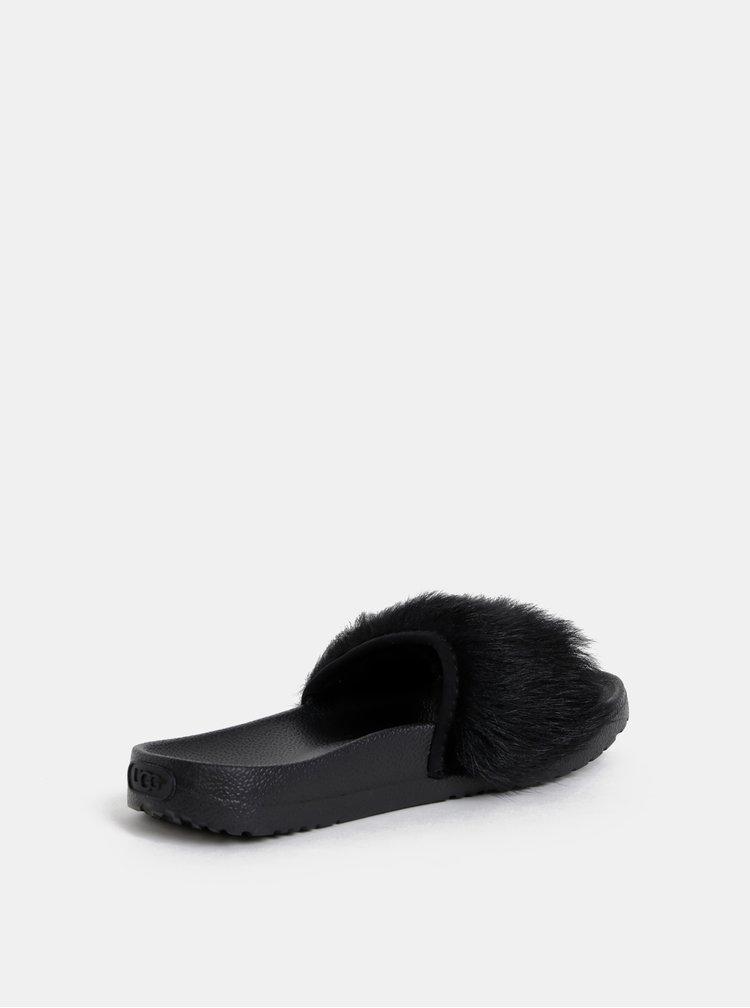 Papuci negri de dama cu blana UGG