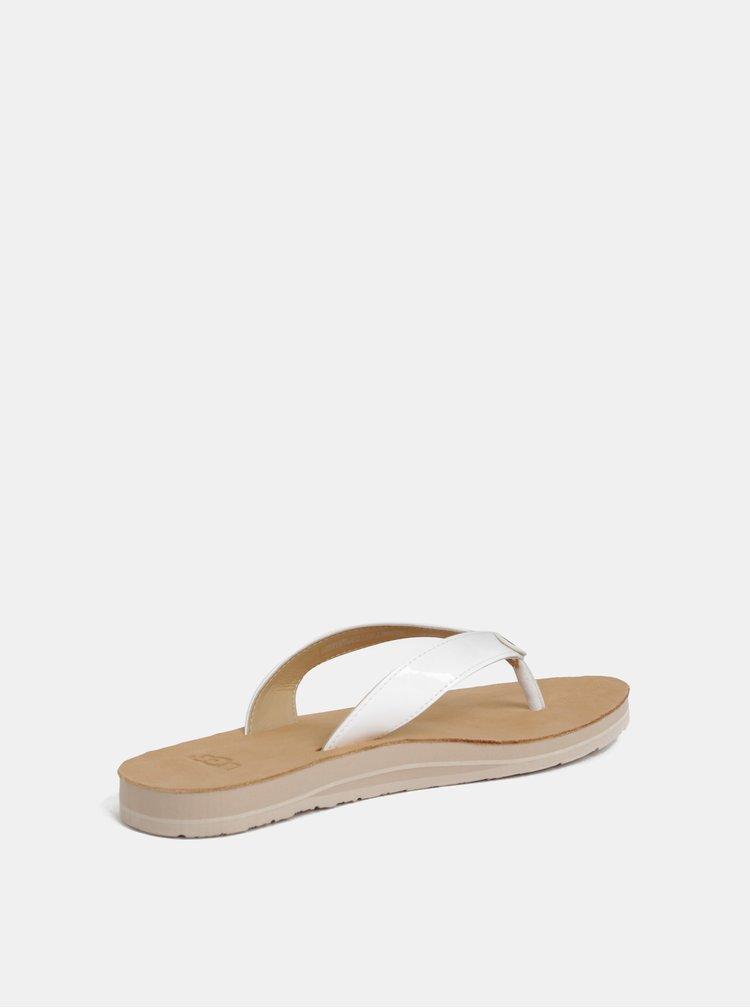 Papuci flip-flop albi de dama UGG