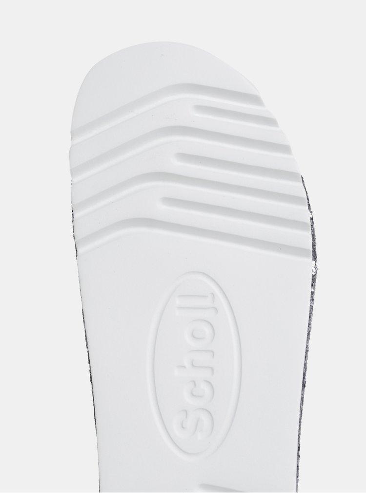 Dámske trblietavé šľapky v striebornej farbe Scholl Glam