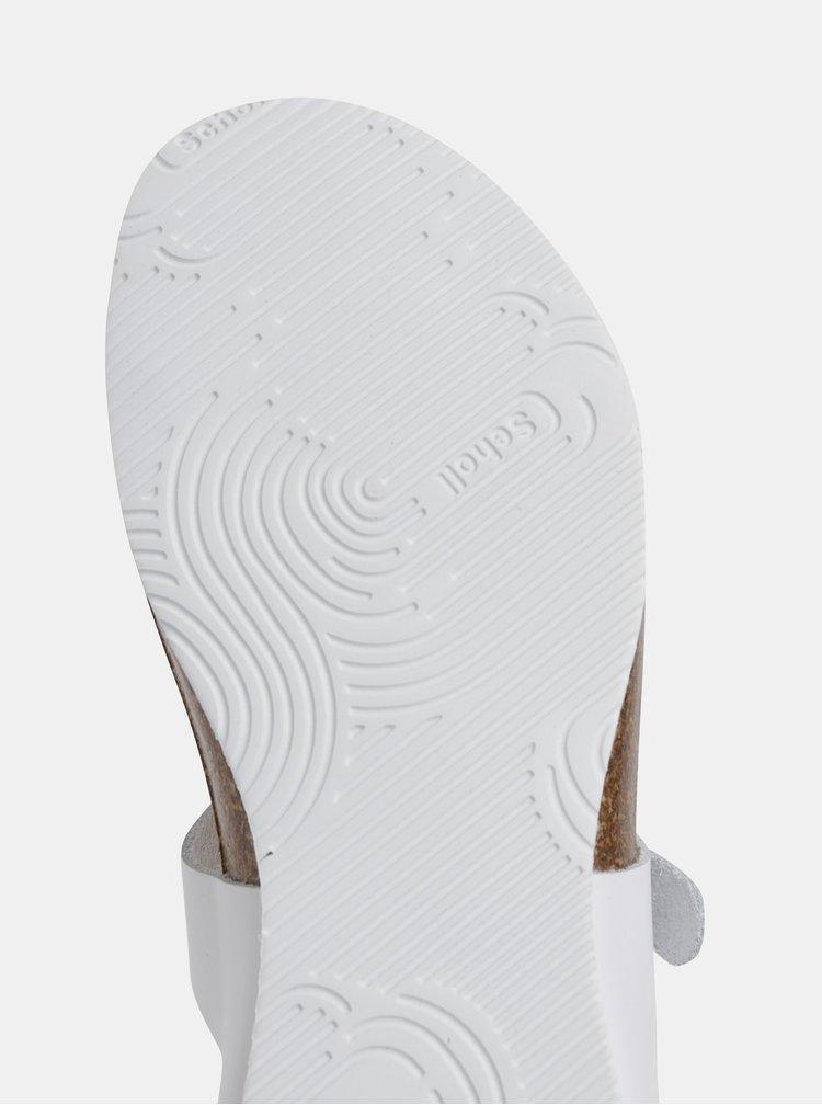 Biele dámske kožené žabky Scholl Bimini