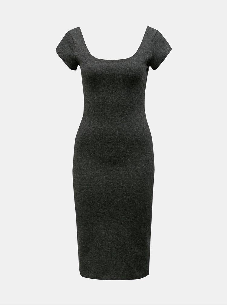 Tmavě šedé žíhané pouzdrové basic šaty ZOOT