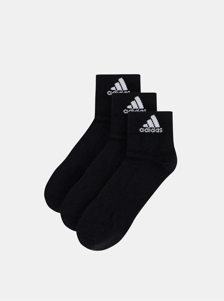 Balenie troch párov čiernych pánskych ponožiek adidas Performance