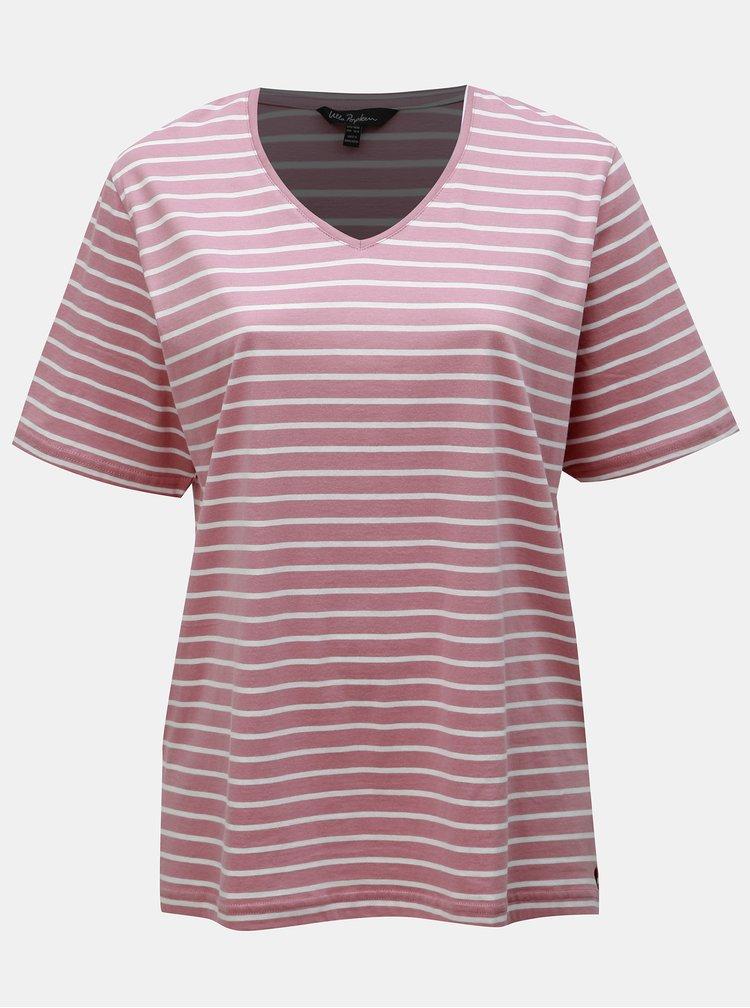 Ružové pruhované basic tričko s rozparkami Ulla Popken