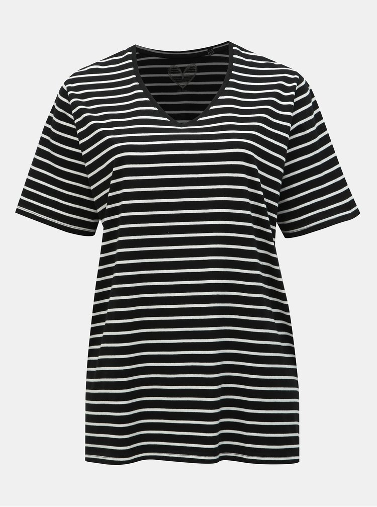 Černé pruhované basic tričko s rozparky Ulla Popken