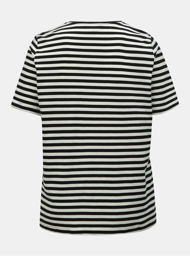 Tricou alb-negru in dungi cu paiete Ulla Popken