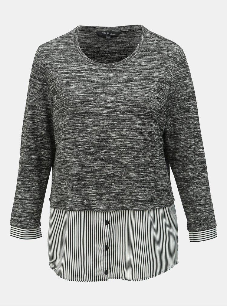 Šedý žíhaný lehký svetr s všitou košilovou částí Ulla Popken