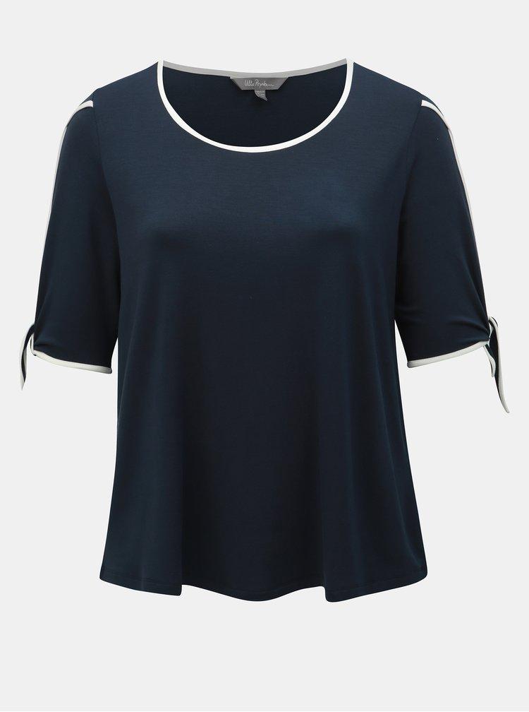 Tmavomodré tričko s prestrihmi Ulla Popken