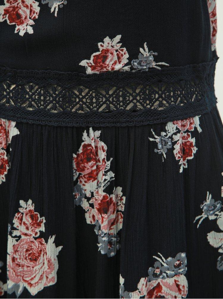 Rochie neagra florala cu bretele si detalii din dantela ONLY Karmen Anne
