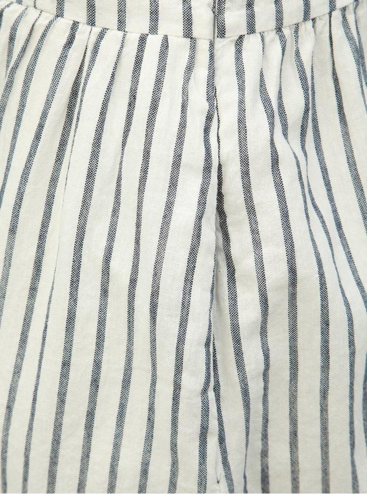 Bílé pruhované šaty na ramínka s příměsí lnu ONLY Luna