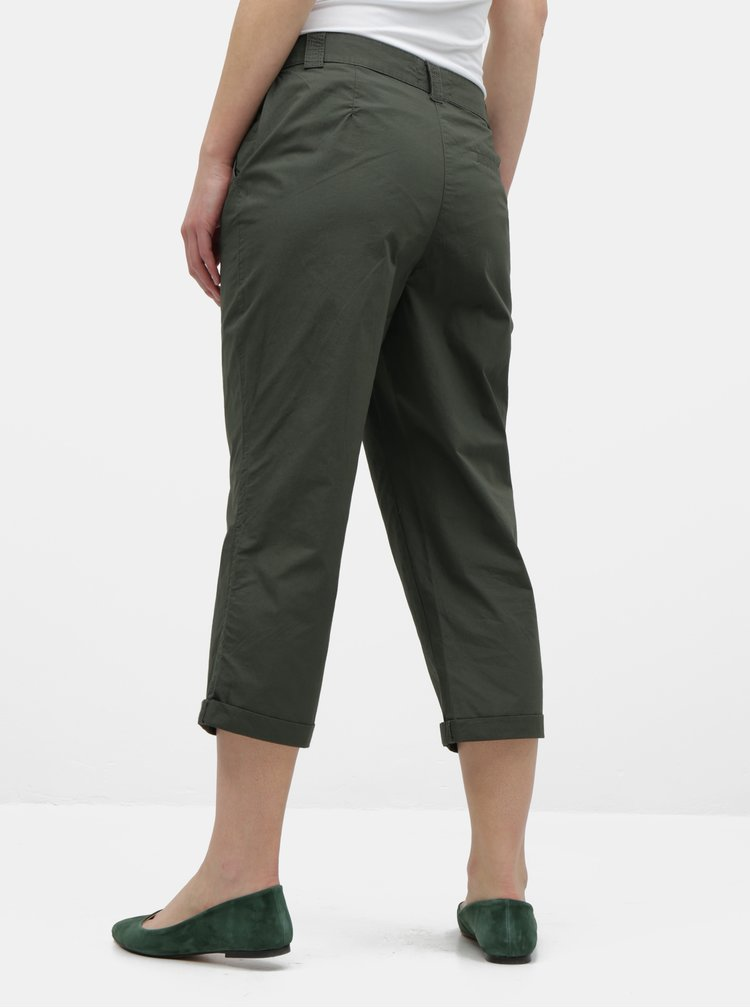 Tmavě zelené zkrácené kalhoty Dorothy Perkins