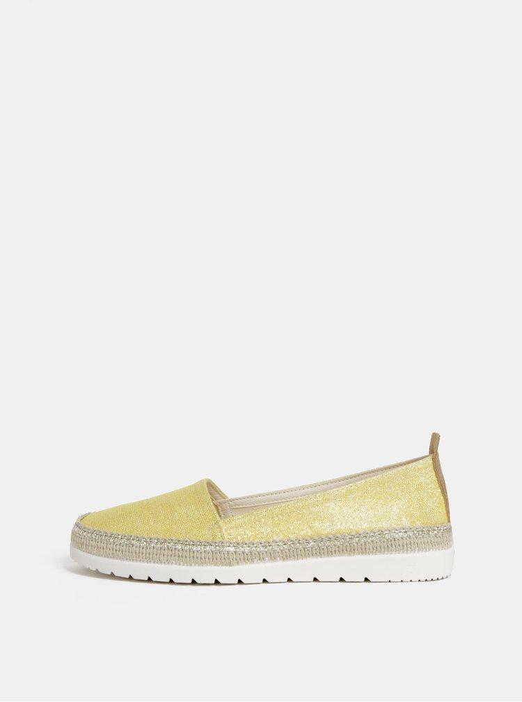 Pantofi slip on galbeni cu fibre metalice OJJU