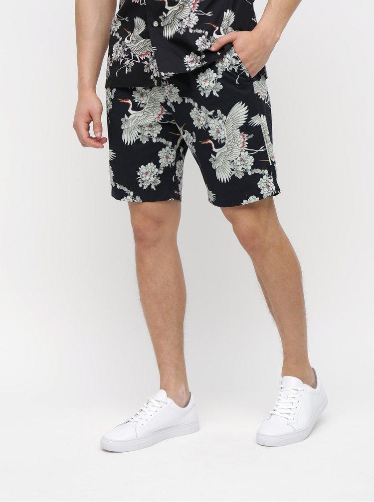 Pantaloni scurti negri cu model si buzunare Selected Homme