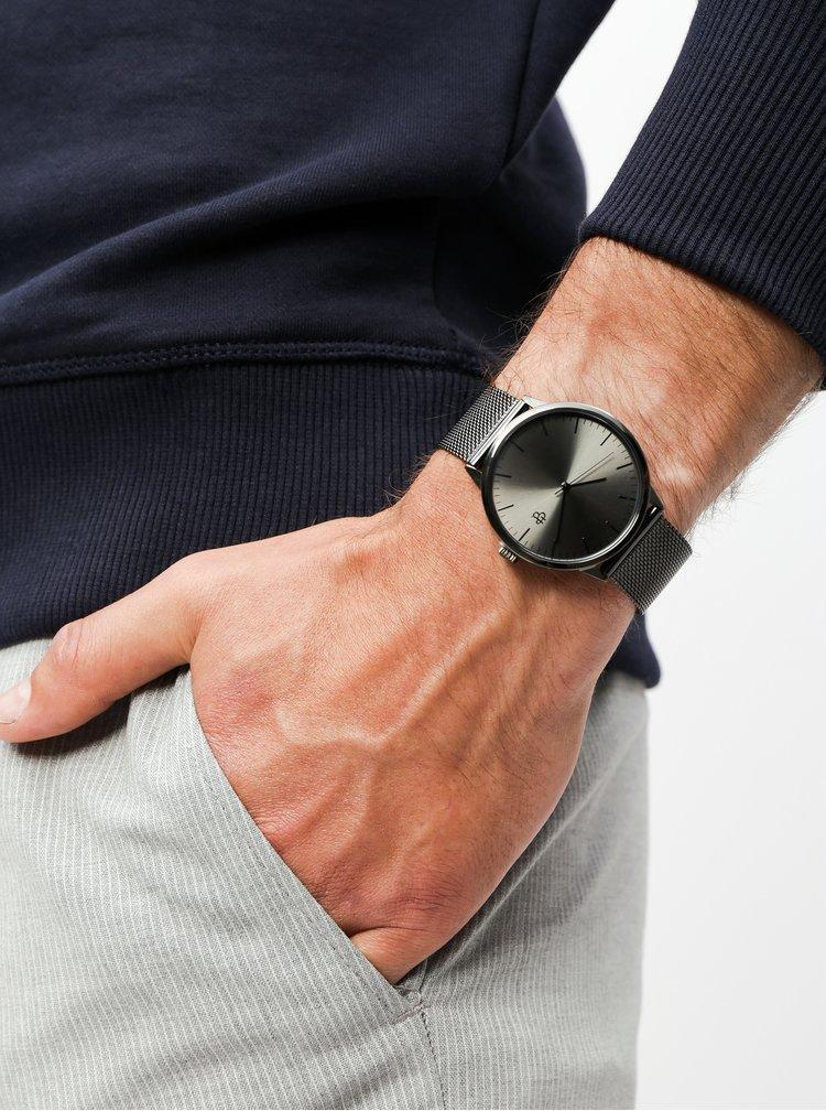 Hodinky s černým nerezovým páskem CHPO Nando Metal