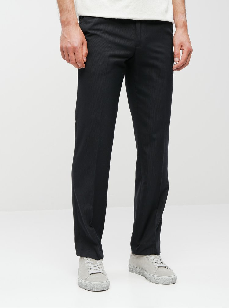 Pantaloni negri in dungi tailored fit Burton Menswear London