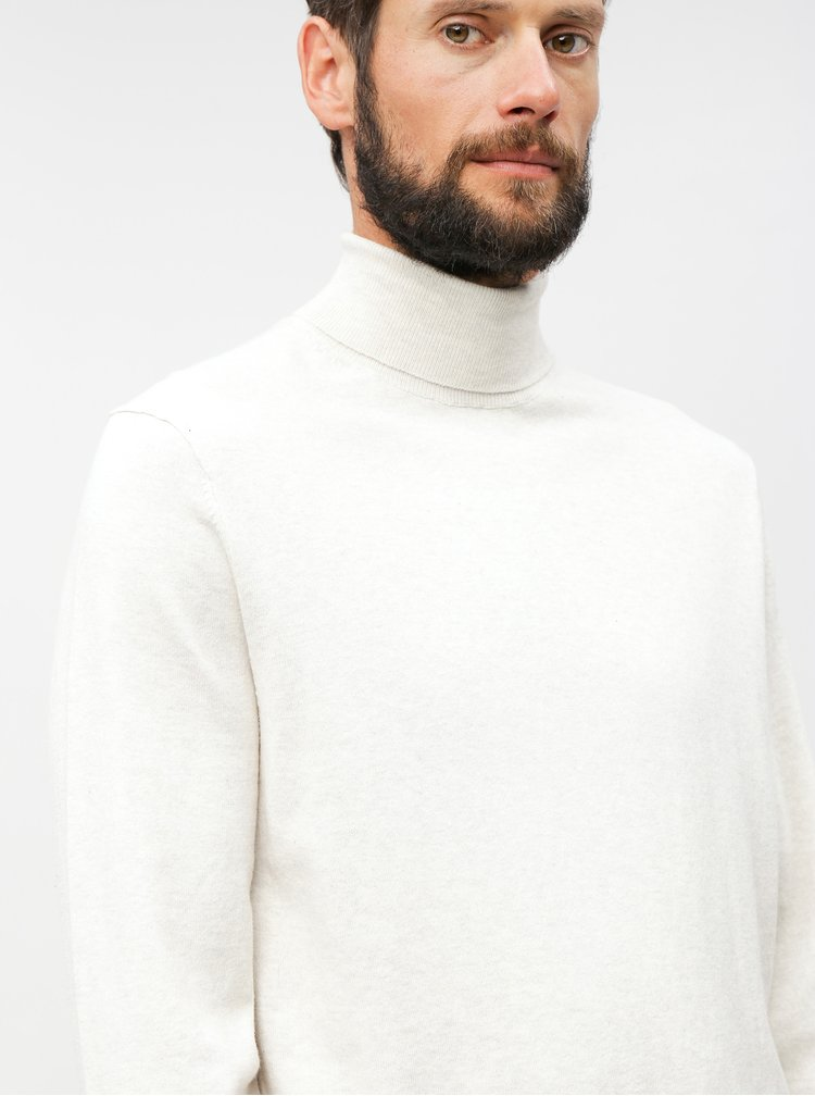 Pulover crem cu guler inalt Burton Menswear London