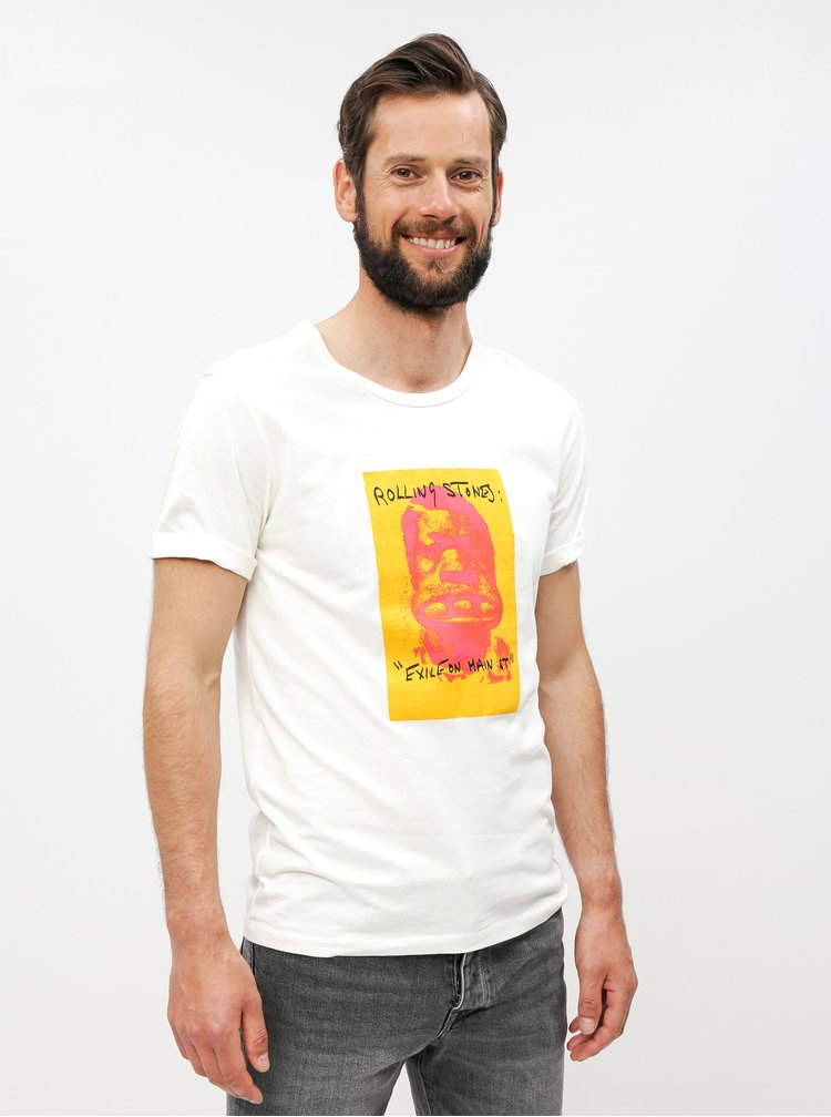 Tricou crem cu imprimeu Selected Homme Chester