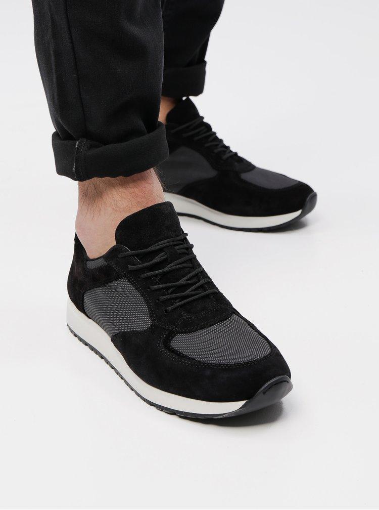 Pantofi sport barbatesti negri din piele intoarsa Vagabond Colin