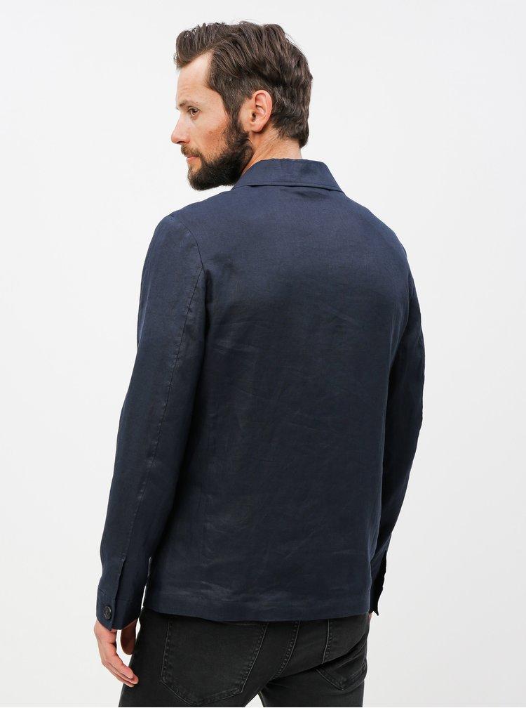 Tmavomodrá ľanová tenká bunda s vreckami Selected Homme
