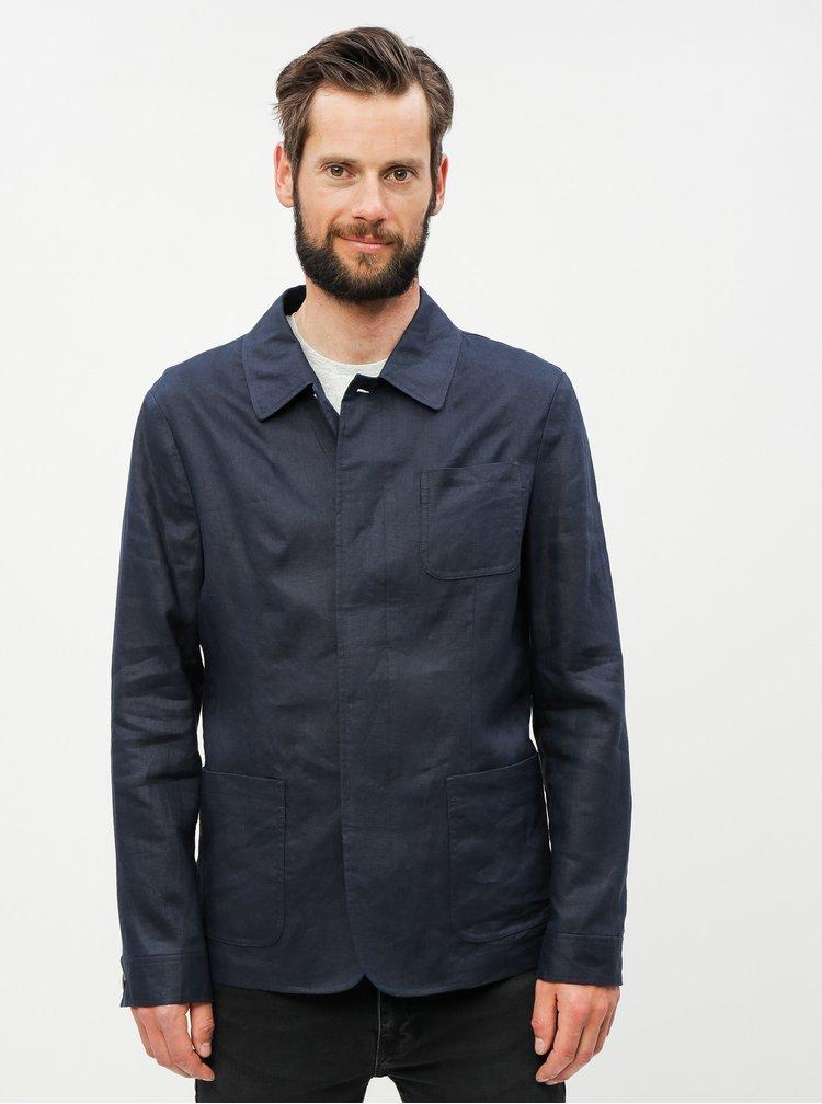 Jacheta albastru inchis lejera din in cu buzunare Selected Homme