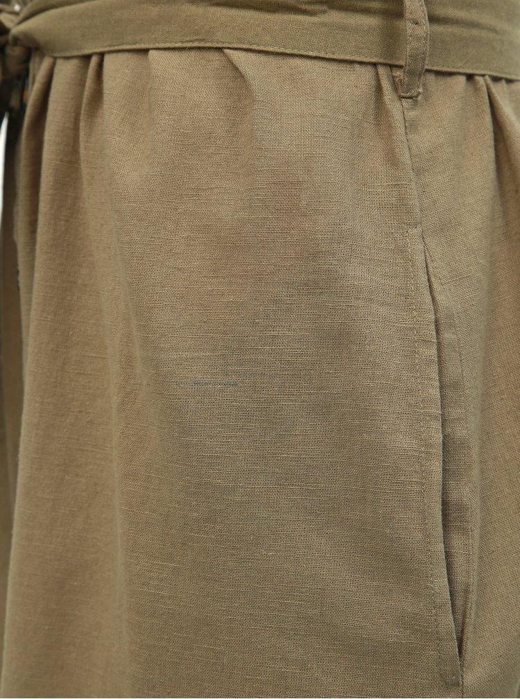 Khaki košilové šaty s příměsí lnu Dorothy Perkins Tall