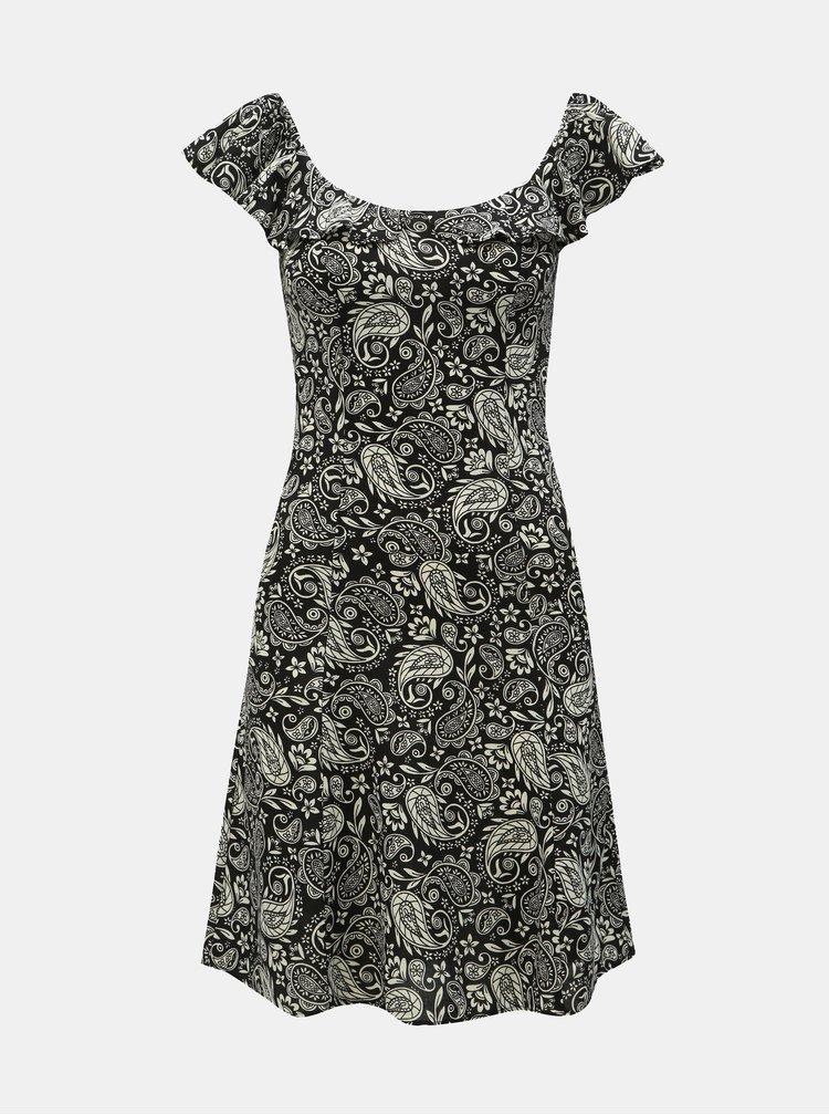Bielo–čierne vzorované šaty s odhalenými ramenami Dorothy Perkins