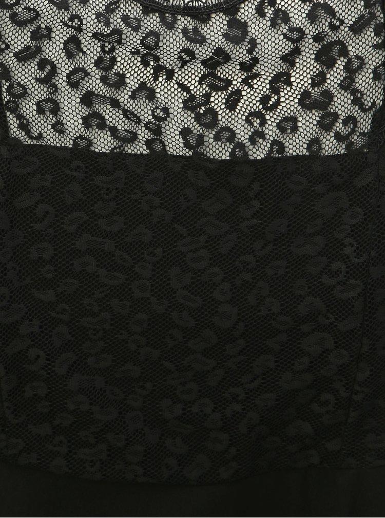 Čierne šaty s čipkou a leopardím vzorom Dorothy Perkins