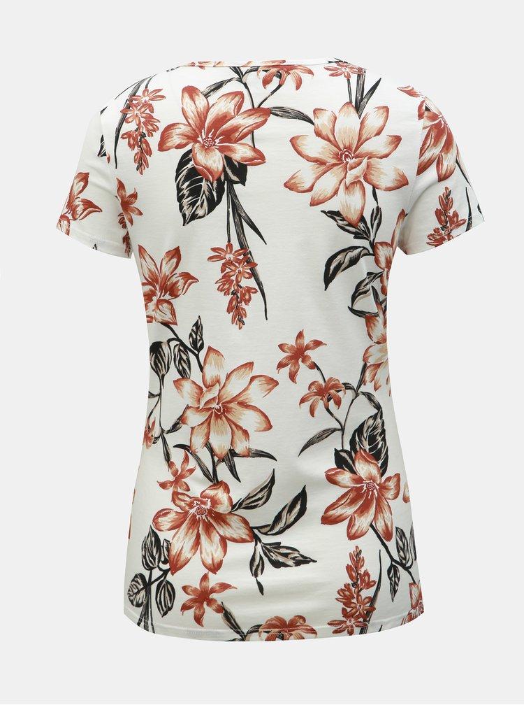 Biele kvetované tričko Dorothy Perkins