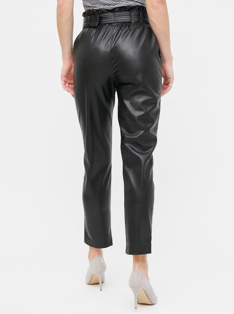 Čierne koženkové nohavice s opaskom a vysokým pásom TALLY WEiJL
